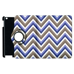 Chevron Blue Beige Apple Ipad 2 Flip 360 Case by snowwhitegirl