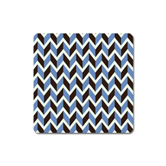 Chevron Blue Brown Square Magnet by snowwhitegirl