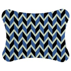 Chevron Blue Brown Jigsaw Puzzle Photo Stand (bow) by snowwhitegirl