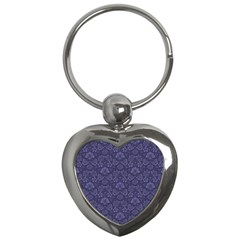 Damask Purple Key Chains (heart)  by snowwhitegirl