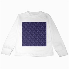 Damask Purple Kids Long Sleeve T Shirts by snowwhitegirl