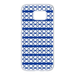 Circles Lines Blue White Samsung Galaxy S7 Edge White Seamless Case by BrightVibesDesign