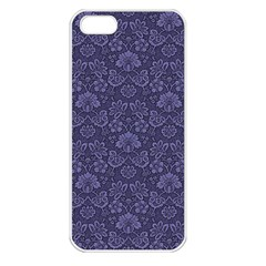 Damask Purple Apple Iphone 5 Seamless Case (white) by snowwhitegirl