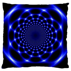 Indigo Lotus  Large Cushion Case (one Side) by vwdigitalpainting