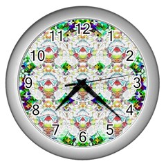 Nine Little Cartoon Dogs In The Green Grass Wall Clocks (silver)  by pepitasart
