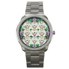 Nine Little Cartoon Dogs In The Green Grass Sport Metal Watch by pepitasart