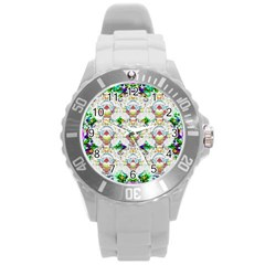 Nine Little Cartoon Dogs In The Green Grass Round Plastic Sport Watch (l) by pepitasart