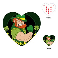 St  Patricks Day Playing Cards (heart)  by Valentinaart