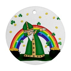 St  Patrick  Dabbing Round Ornament (two Sides) by Valentinaart