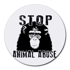 Stop Animal Abuse   Chimpanzee  Round Mousepads by Valentinaart
