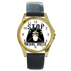 Stop Animal Abuse   Chimpanzee  Round Gold Metal Watch by Valentinaart