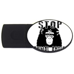 Stop Animal Abuse   Chimpanzee  Usb Flash Drive Oval (4 Gb) by Valentinaart