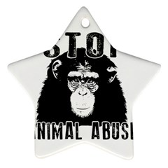 Stop Animal Abuse   Chimpanzee  Star Ornament (two Sides) by Valentinaart