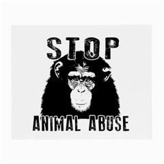 Stop Animal Abuse   Chimpanzee  Small Glasses Cloth (2 Side) by Valentinaart