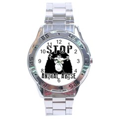Stop Animal Abuse   Chimpanzee  Stainless Steel Analogue Watch by Valentinaart