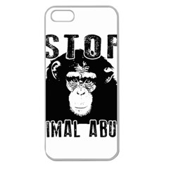 Stop Animal Abuse   Chimpanzee  Apple Seamless Iphone 5 Case (clear)