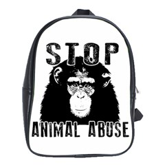 Stop Animal Abuse   Chimpanzee  School Bag (xl) by Valentinaart
