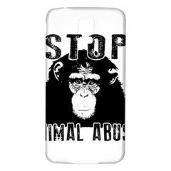 Stop Animal Abuse   Chimpanzee  Samsung Galaxy S5 Back Case (white) by Valentinaart