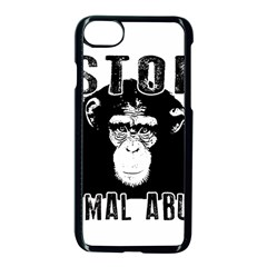 Stop Animal Abuse   Chimpanzee  Apple Iphone 8 Seamless Case (black) by Valentinaart