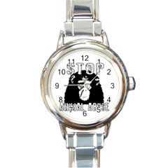 Stop Animal Abuse   Chimpanzee  Round Italian Charm Watch by Valentinaart