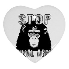 Stop Animal Abuse - Chimpanzee  Ornament (Heart)