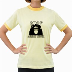 Stop Animal Abuse - Chimpanzee  Women s Fitted Ringer T-Shirts
