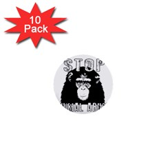 Stop Animal Abuse - Chimpanzee  1  Mini Buttons (10 pack)