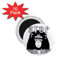 Stop Animal Abuse - Chimpanzee  1.75  Magnets (10 pack)