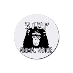 Stop Animal Abuse - Chimpanzee  Rubber Round Coaster (4 pack)
