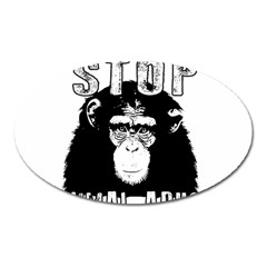 Stop Animal Abuse - Chimpanzee  Oval Magnet