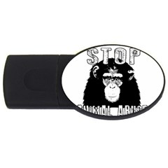 Stop Animal Abuse   Chimpanzee  Usb Flash Drive Oval (2 Gb) by Valentinaart