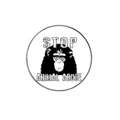 Stop Animal Abuse - Chimpanzee  Hat Clip Ball Marker