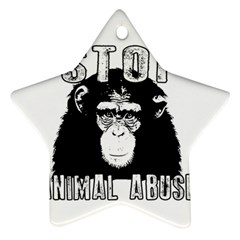 Stop Animal Abuse - Chimpanzee  Star Ornament (Two Sides)