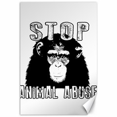 Stop Animal Abuse   Chimpanzee  Canvas 12  X 18   by Valentinaart