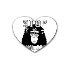 Stop Animal Abuse - Chimpanzee  Rubber Coaster (Heart)
