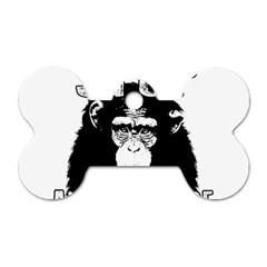Stop Animal Abuse   Chimpanzee  Dog Tag Bone (one Side) by Valentinaart