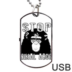 Stop Animal Abuse - Chimpanzee  Dog Tag USB Flash (Two Sides)