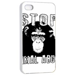 Stop Animal Abuse - Chimpanzee  Apple iPhone 4/4s Seamless Case (White)