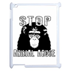 Stop Animal Abuse   Chimpanzee  Apple Ipad 2 Case (white) by Valentinaart