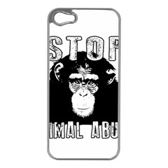 Stop Animal Abuse - Chimpanzee  Apple iPhone 5 Case (Silver)