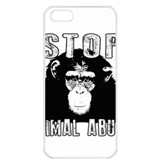Stop Animal Abuse - Chimpanzee  Apple iPhone 5 Seamless Case (White)