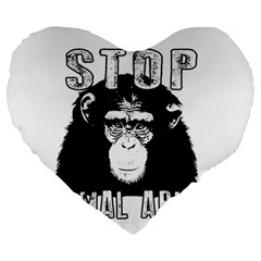 Stop Animal Abuse   Chimpanzee  Large 19  Premium Heart Shape Cushions by Valentinaart