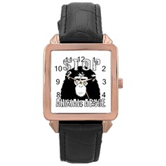 Stop Animal Abuse - Chimpanzee  Rose Gold Leather Watch