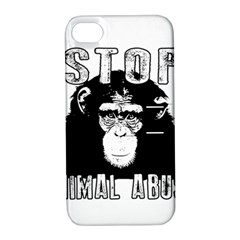 Stop Animal Abuse - Chimpanzee  Apple iPhone 4/4S Hardshell Case with Stand