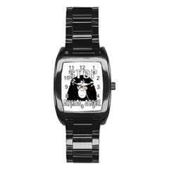 Stop Animal Abuse - Chimpanzee  Stainless Steel Barrel Watch