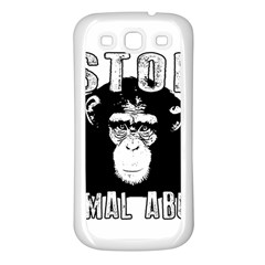 Stop Animal Abuse - Chimpanzee  Samsung Galaxy S3 Back Case (White)