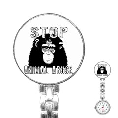 Stop Animal Abuse   Chimpanzee  Stainless Steel Nurses Watch by Valentinaart