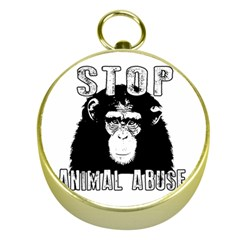 Stop Animal Abuse - Chimpanzee  Gold Compasses