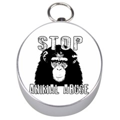 Stop Animal Abuse - Chimpanzee  Silver Compasses