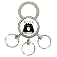Stop Animal Abuse   Chimpanzee  3 Ring Key Chains by Valentinaart